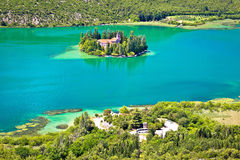 Island of Visovac monastery in Krka Stock Images