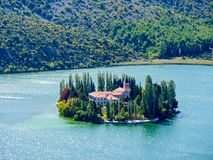 Island of Visovac monastery in Krka national park - Dalmatia, Croatia royalty free stock photography