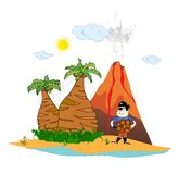 Island with a volcano and a pirate  Royalty Free Stock Image