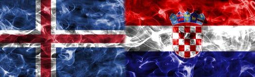 Island vs Kroatien röker flaggan, grupp D, fotbollvärldscupen 2018, Arkivbild