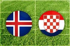 Island vs Kroatienfotbollsmatch Arkivbilder