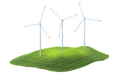 Island with wind turbines floating in the air on sky background Royalty Free Stock Photos