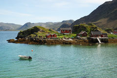 Island With Fishing Village In The Middle Of Fjord Stock Photography