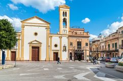 View of the Mothers Church overlooks Umberto square in the center of the Island of Women or Isola delle Femmine, province of Paler. The Island of Women, Sicily stock image
