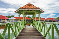 Island wooden pavilion with bridge Stock Photography