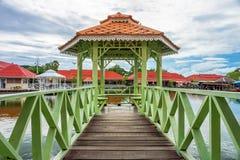 Island wooden pavilion with bridge Stock Photography