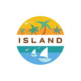 Island Yacht palm paradise illustration quality flat. Art Stock Photos
