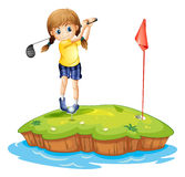 An island with a young girl playing golf vector illustration