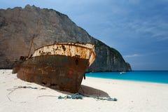 Island Zakynthos. Beach Navagio in Island Zakynthos Stock Photography
