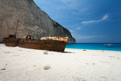 Island Zakynthos. Beach Navagio in Island Zakynthos Royalty Free Stock Photo