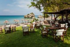 Island Zakynthos. Beautiful bar on the beach in Island Zakynthos Stock Image