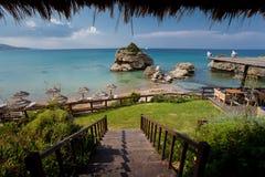 Island Zakynthos. Beautiful bar on the beach in Island Zakynthos Stock Photos