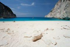 Island Zakynthos. Navagio beach in Island Zakynthos Stock Photo