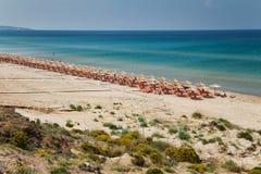 Island Zakynthos. Tropical beach with parasols in Island Zakynthos Stock Images