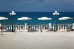 Island Zakynthos. Vhite parasols in Island Zakynthos Stock Photos