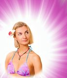 Islander girl. Picture of an Islander girl on abstract purple background stock images