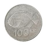 Islandese una moneta da 100 corone svedesi Fotografia Stock