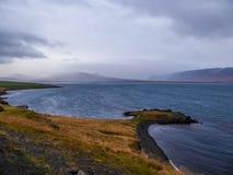 Islandia - costa herbosa del fiordo con las monta?as altas en la parte posterior imagen de archivo