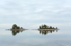 Islands. Two small islets in Ladoga lake Stock Image