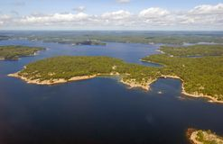 Islands. Bird's-eye view on lake and islands Royalty Free Stock Images