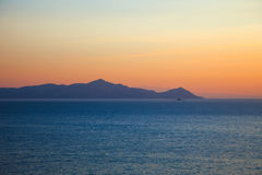 Islands in Aegean sea before sunrise. Greece Royalty Free Stock Image
