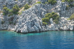 The islands in the Aegean Sea, the white rock Stock Images