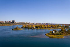 Islands on the Angara River in Irkutsk Stock Images
