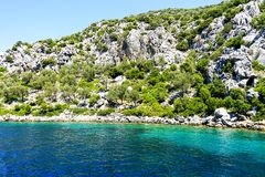 Islands, Blue sea and blue tour boats yachting Stock Images