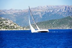 Islands, Blue sea and blue tour boats yachting Stock Photos