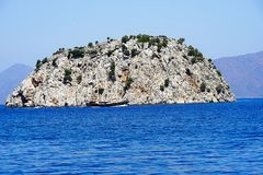 Islands, Blue sea and blue tour boats yachting Stock Image