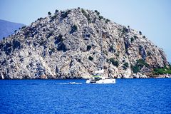 Islands, Blue sea and blue tour boats yachting Stock Photo