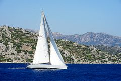 Islands, Blue sea and blue tour boats yachting Stock Photography