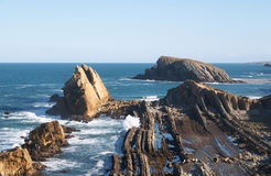 Islands in the Cantabria coastline Stock Photos