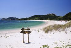 Islands Cies in Vigo, Spain. Stock Photography