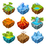 Islands Of Computer Game Isometric Set Stock Photography