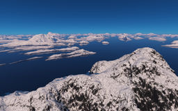 Islands covered with snow. Stock Photos