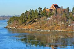 Islands in early spring in March. Stockholm archipelago Royalty Free Stock Photography
