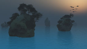 Islands in fog Royalty Free Stock Image