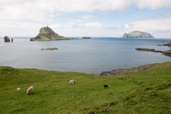 The islands Gasholmur and Tindholmur and Mykines on the Faroe I royalty free stock image