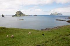 The islands Gasholmur and Tindholmur and  Mykines on the Faroe I Royalty Free Stock Image