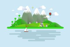 Islands, green hills, grey mountains with white peaks, blue skies, water, trees, balloons, boat sails, home Royalty Free Stock Images