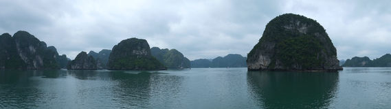 Islands in Halong Bay, Panorama Stock Photography