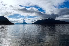 Islands on the Howe Sound in British Columbia. Bowen, Anvil and Gambier Islands on a peaceful day along Highway 1 the beautiful terrain of the Howe Sound in Royalty Free Stock Photography