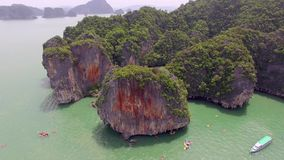 Islands lagoon sea kayaking in Thailand stock video