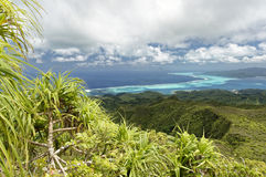 Islands and lagoon of Tahaa and Bora Bora from Raiatea Royalty Free Stock Images
