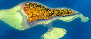 Islands on lake, aerial. Photography of beautiful Lithuanian scenic nature in fall Stock Photography