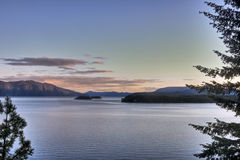 Islands of Lake Pend Oreille Sunset Royalty Free Stock Image