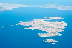Islands in the Mediterranean. View from the plane on the island of the Mediterranean Sea Royalty Free Stock Photos
