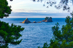 Islands near Petrovac. Katic and Mali Katich islands located next to the coast of Petrovac Stock Photography