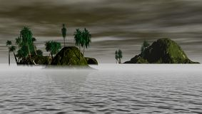 Islands at night. An illustration of tropical islands at night time with dark clouds and fog Royalty Free Stock Images
